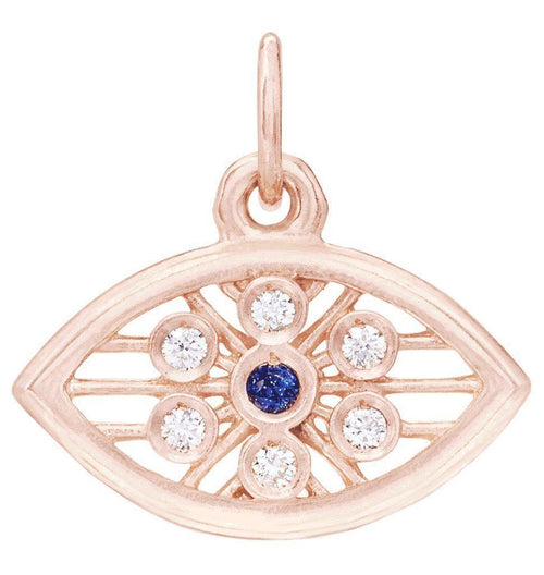 Evil Eye Mini Charm With Diamonds And Blue Sapphire Jewelry Helen Ficalora 14k Pink Gold For Necklaces And Bracelets