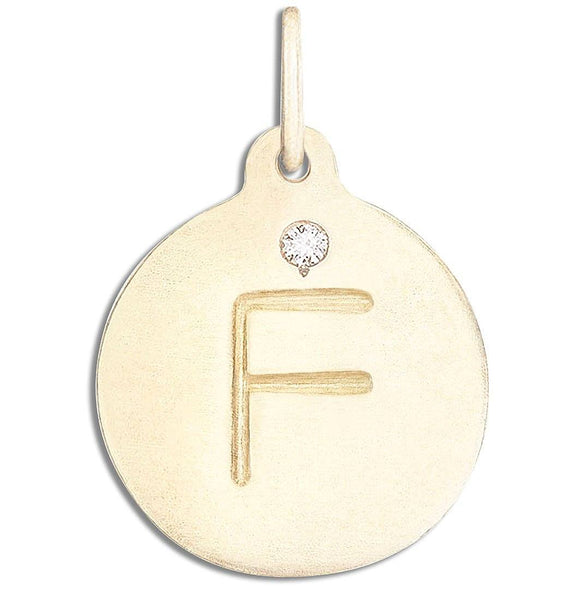 """F"" Alphabet Charm With Diamond - 14k Yellow Gold - Jewelry - Helen Ficalora - 1"
