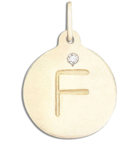 """F"" Alphabet Charm With Diamond Jewelry Helen Ficalora 14k Yellow Gold  For Necklaces And Bracelets"