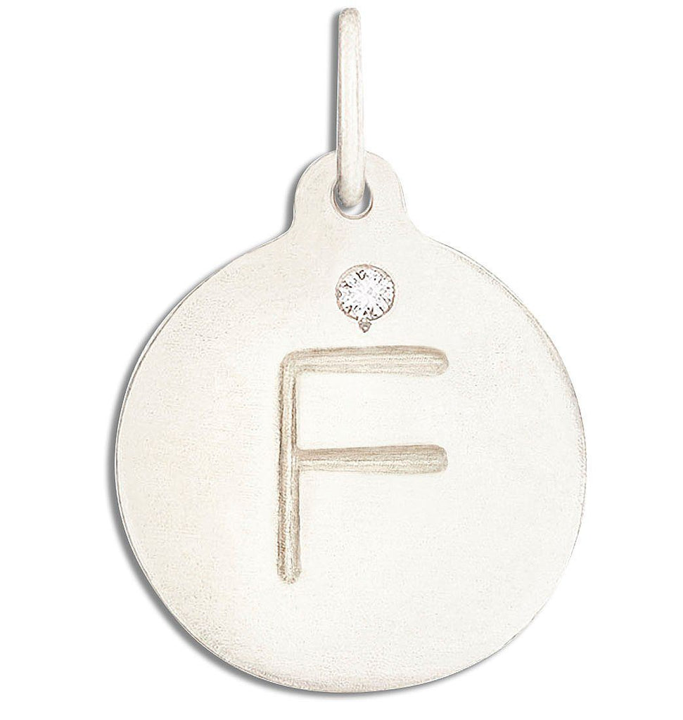 """F"" Alphabet Charm With Diamond - Sterling Silver And 14k Yellow Gold - Jewelry - Helen Ficalora - 4"