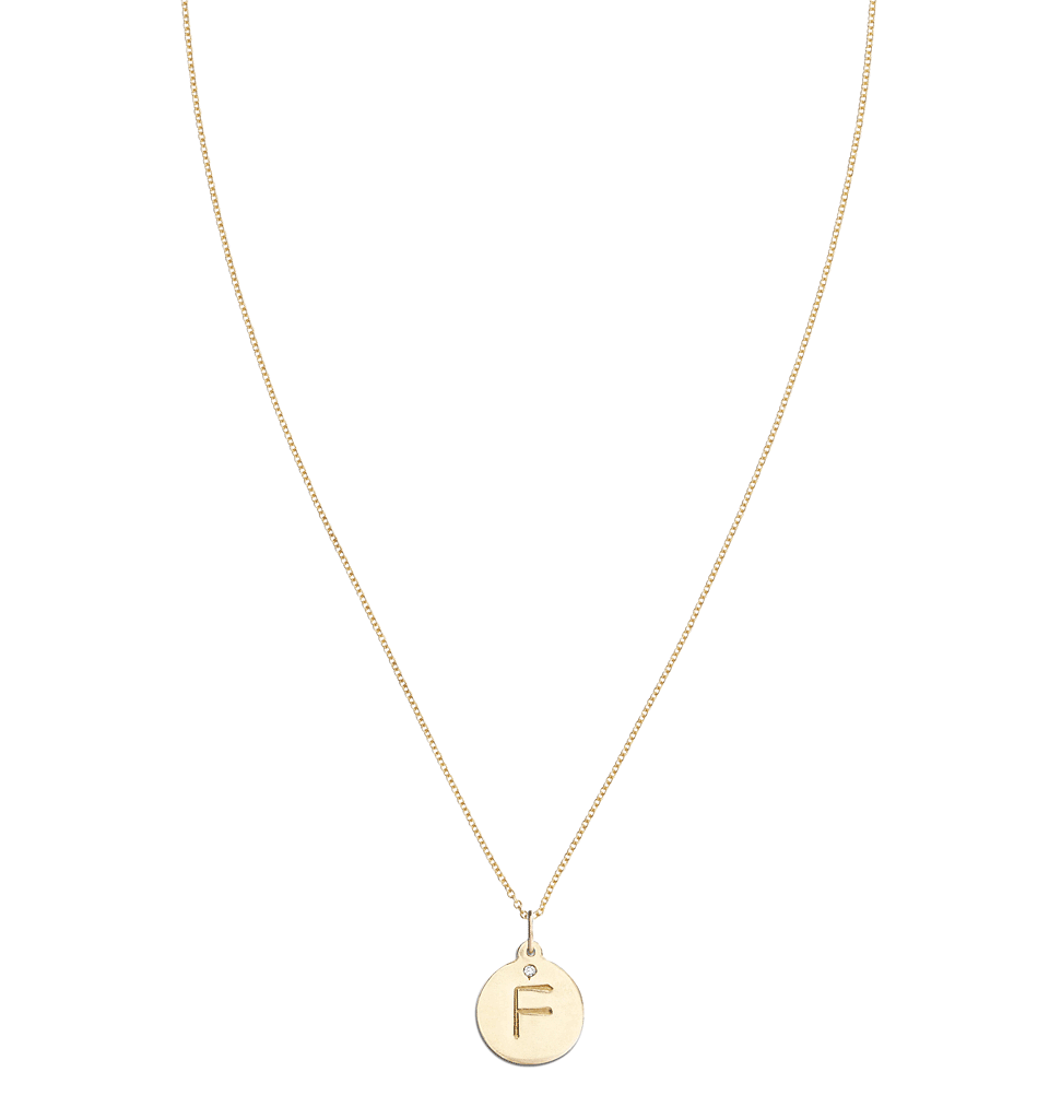 """F"" Alphabet Charm With Diamond -  - Jewelry - Helen Ficalora - 5"