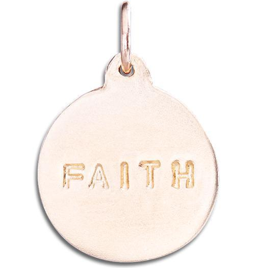 """Faith"" Disk Charm Jewelry Helen Ficalora 14k Pink Gold"