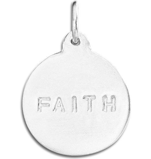 """Faith"" Disk Charm - Sterling Silver - Jewelry - Helen Ficalora - 4"