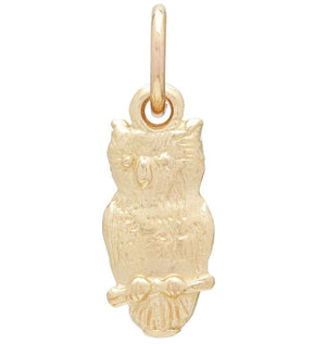 Flat Owl Mini Charm Jewelry Helen Ficalora 14k Yellow Gold