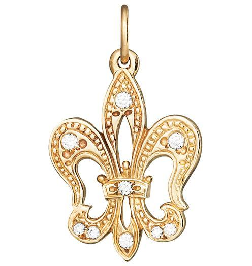 Fleur De Lis Charm Pave Diamonds - 14k Yellow Gold - Jewelry - Helen Ficalora - 1