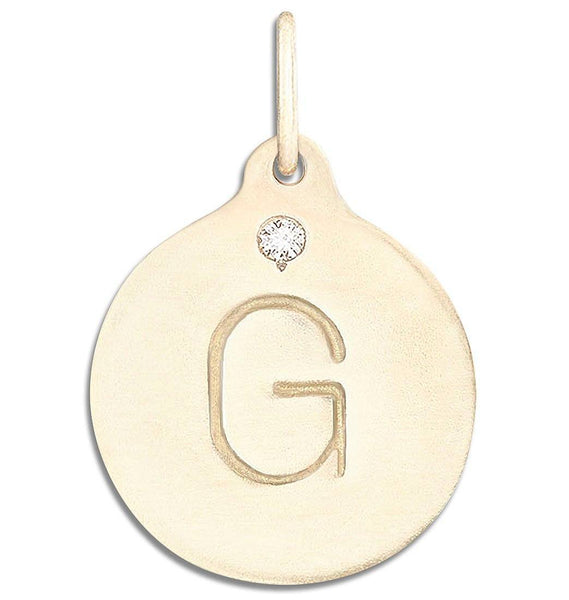 """G"" Alphabet Charm With Diamond - 14k Yellow Gold - Jewelry - Helen Ficalora - 1"