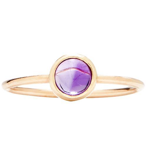 Gemstone Stacking Ring With Amethyst - 14k Yellow Gold / 5 - Jewelry - Helen Ficalora