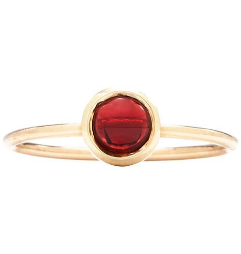 Gemstone Stacking Ring With Garnet - 14k Yellow Gold / 5 - Jewelry - Helen Ficalora
