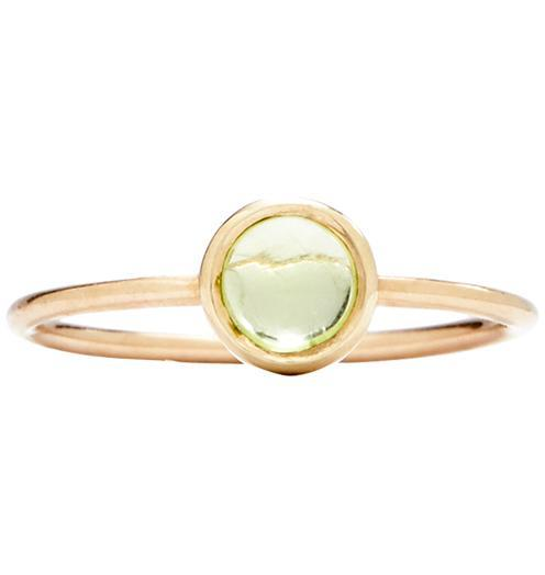 Gemstone Stacking Ring With Peridot - 14k Yellow Gold / 5 - Jewelry - Helen Ficalora