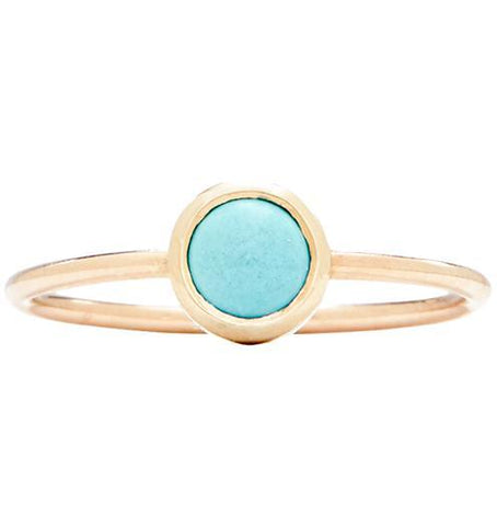 Gemstone Stacking Ring With Turquoise - 14k Yellow Gold / 5 - Jewelry - Helen Ficalora