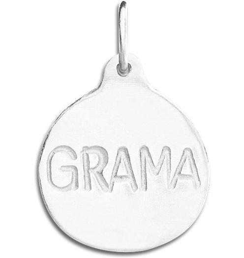 """Grama"" Disk Charm - Sterling Silver - Jewelry - Helen Ficalora - 4"