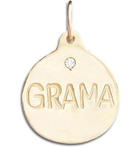 """Grama"" Disk Charm With Diamond Jewelry Helen Ficalora 14k Yellow Gold"