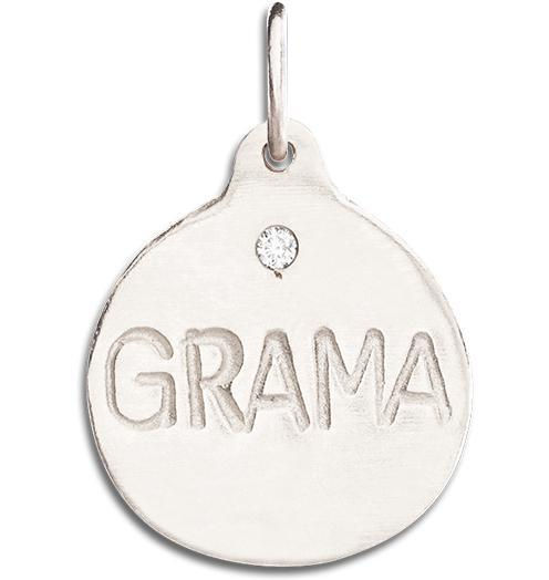 """Grama"" Disk Charm With Diamond - 14k White Gold - Jewelry - Helen Ficalora - 2"