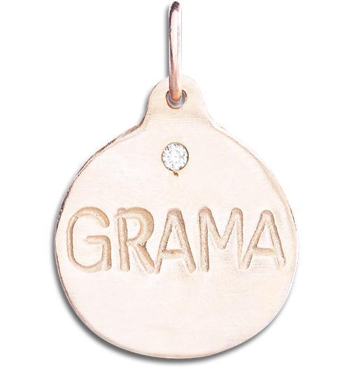 """Grama"" Disk Charm With Diamond - 14k Pink Gold - Jewelry - Helen Ficalora - 3"
