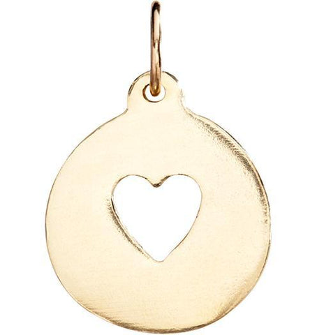 Heart Cutout Charm - 14k Yellow Gold - Jewelry - Helen Ficalora - 1