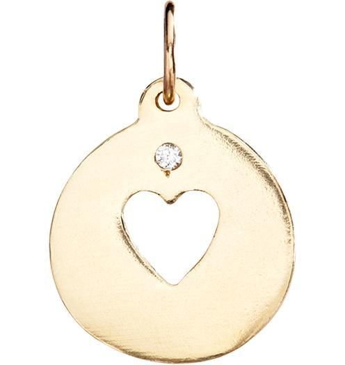Heart Cutout Charm With Diamond - 14k Yellow Gold - Jewelry - Helen Ficalora - 1