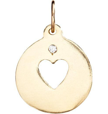 Heart Cutout Charm With Diamond Jewelry Helen Ficalora 14k Yellow Gold For Necklaces And Bracelets