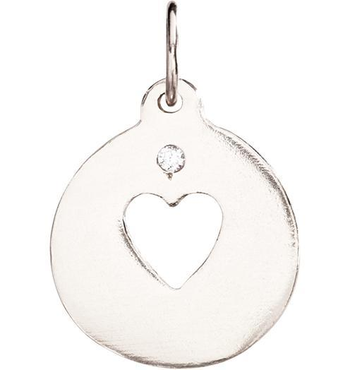 Heart Cutout Charm With Diamond - 14k White Gold - Jewelry - Helen Ficalora - 2