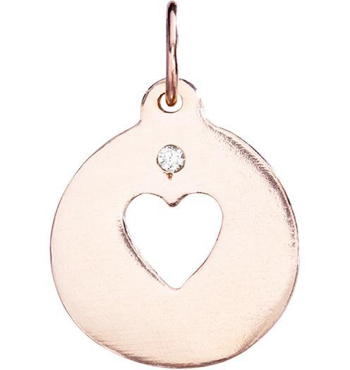 Heart Cutout Charm With Diamond - 14k Pink Gold - Jewelry - Helen Ficalora - 3