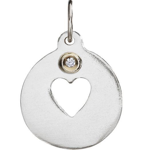 Heart Cutout Charm With Diamond Jewelry Helen Ficalora Sterling Silver For Necklaces And Bracelets