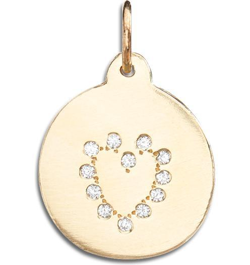 Heart Disk Charm Pave Diamonds Jewelry Helen Ficalora 14k Yellow Gold