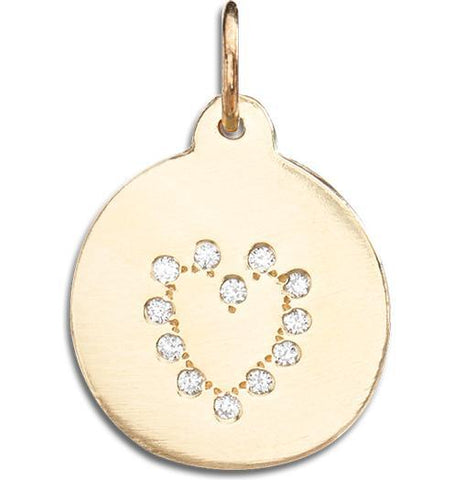 Heart Disk Charm Pave Diamonds - 14k Yellow Gold - Jewelry - Helen Ficalora - 1
