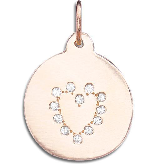 Heart Disk Charm Pave Diamonds - 14k Pink Gold - Jewelry - Helen Ficalora - 2