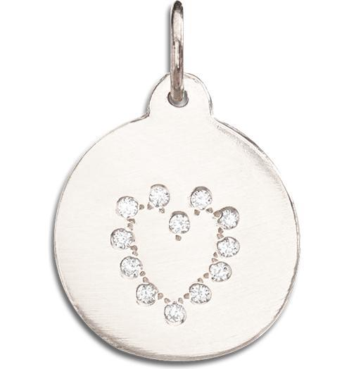 Heart Disk Charm Pave Diamonds - 14k White Gold - Jewelry - Helen Ficalora - 3