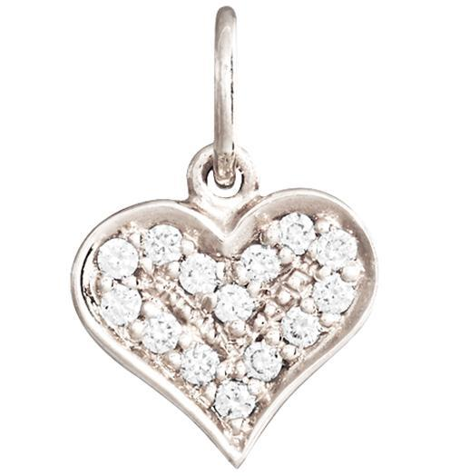 Heart Mini Charm Pave Diamonds - 14k White Gold - Jewelry - Helen Ficalora - 2