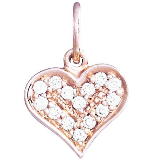 Heart Mini Charm Pave Diamonds - 14k Pink Gold - Jewelry - Helen Ficalora - 3