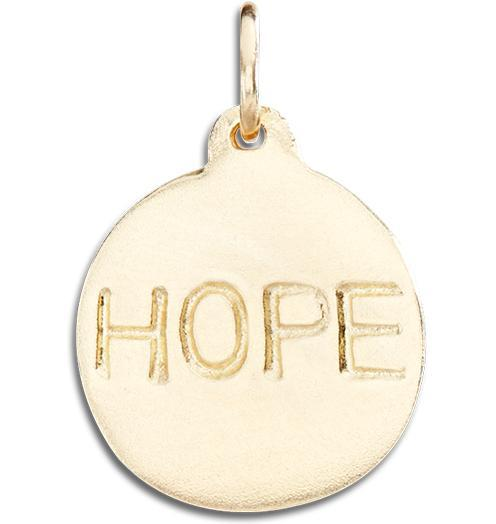 """Hope"" Disk Charm - 14k Yellow Gold - Jewelry - Helen Ficalora - 1"