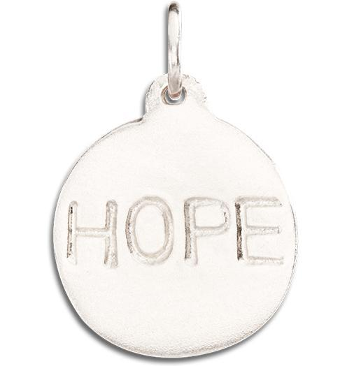 """Hope"" Disk Charm - 14k White Gold - Jewelry - Helen Ficalora - 2"