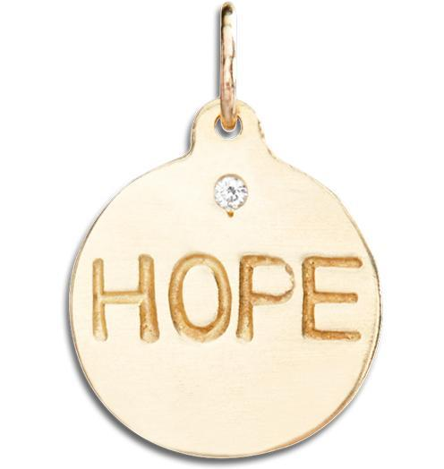 """Hope"" Disk Charm With Diamond - 14k Yellow Gold - Jewelry - Helen Ficalora - 1"