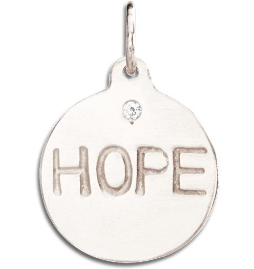 """Hope"" Disk Charm With Diamond - 14k White Gold - Jewelry - Helen Ficalora - 2"