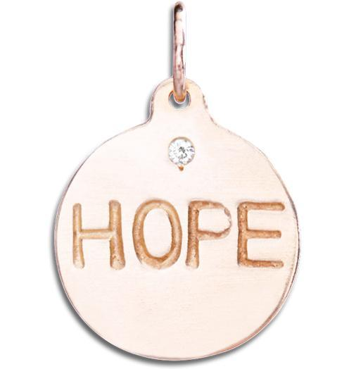 """Hope"" Disk Charm With Diamond - 14k Pink Gold - Jewelry - Helen Ficalora - 3"