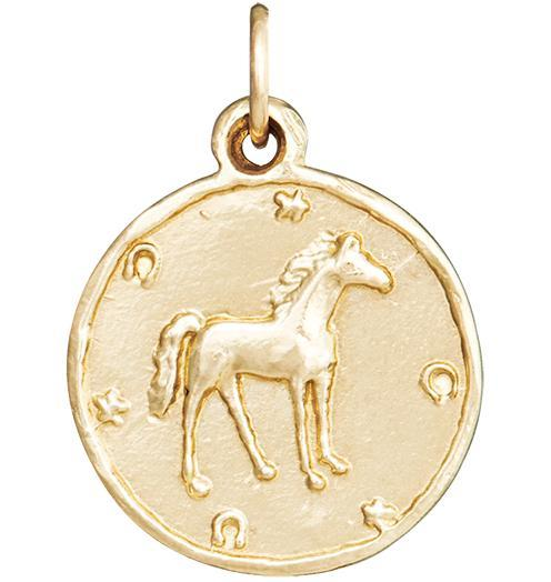Horse Coin Charm - 14k Yellow Gold - Jewelry - Helen Ficalora - 1