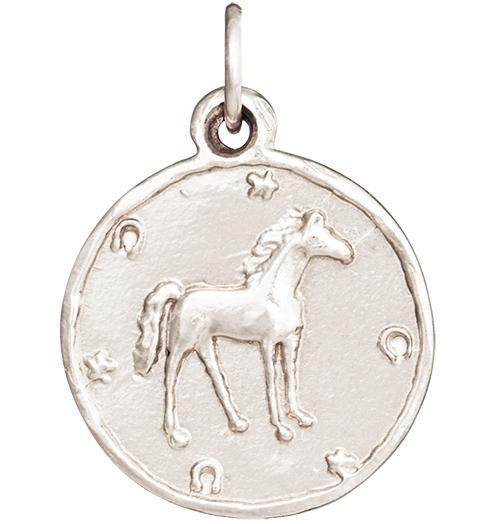 Horse Coin Charm - 14k White Gold - Jewelry - Helen Ficalora - 2