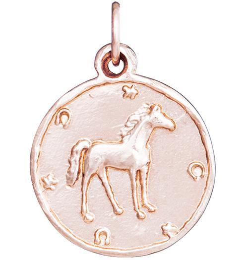 Horse Coin Charm - 14k Pink Gold - Jewelry - Helen Ficalora - 3