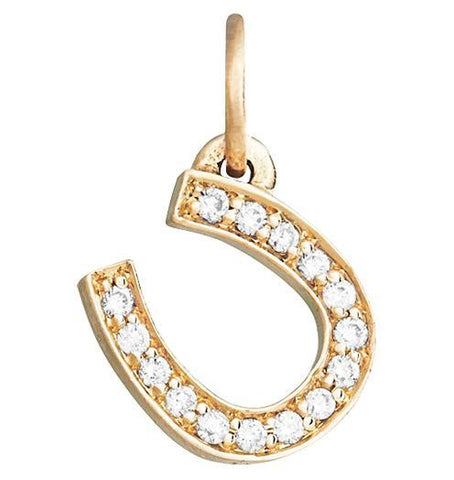 Horseshoe Mini Charm Pave Diamonds - 14k Yellow Gold - Jewelry - Helen Ficalora - 1