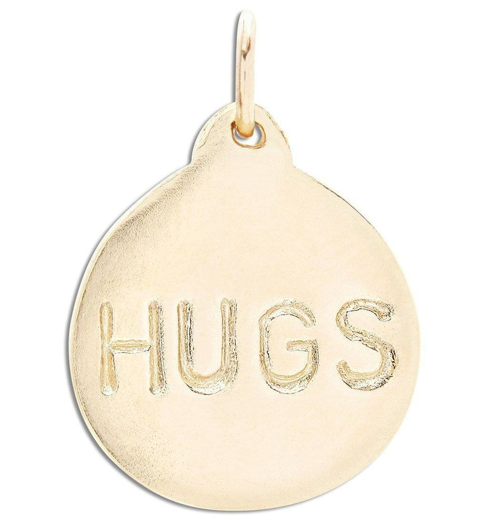 """Hugs"" Disk Charm Jewelry Helen Ficalora 14k Yellow Gold"