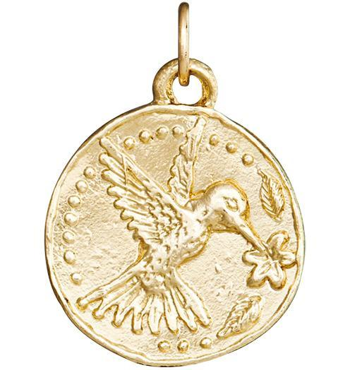 Hummingbird Coin Charm - 14k Yellow Gold - Jewelry - Helen Ficalora - 1