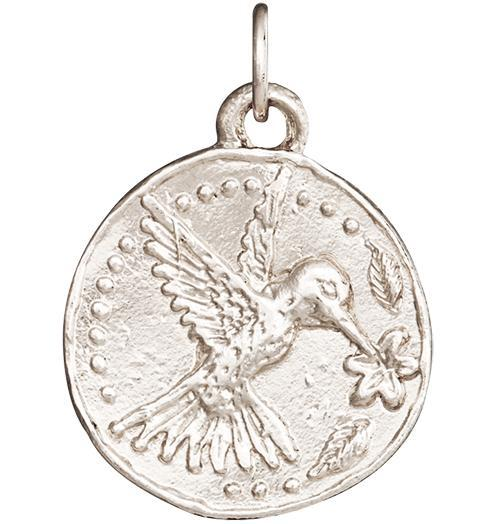 Hummingbird Coin Charm - 14k White Gold - Jewelry - Helen Ficalora - 2