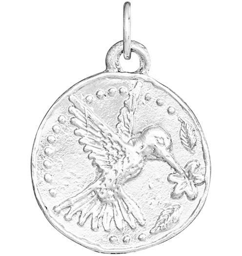 Hummingbird Coin Charm - Sterling Silver - Jewelry - Helen Ficalora - 4