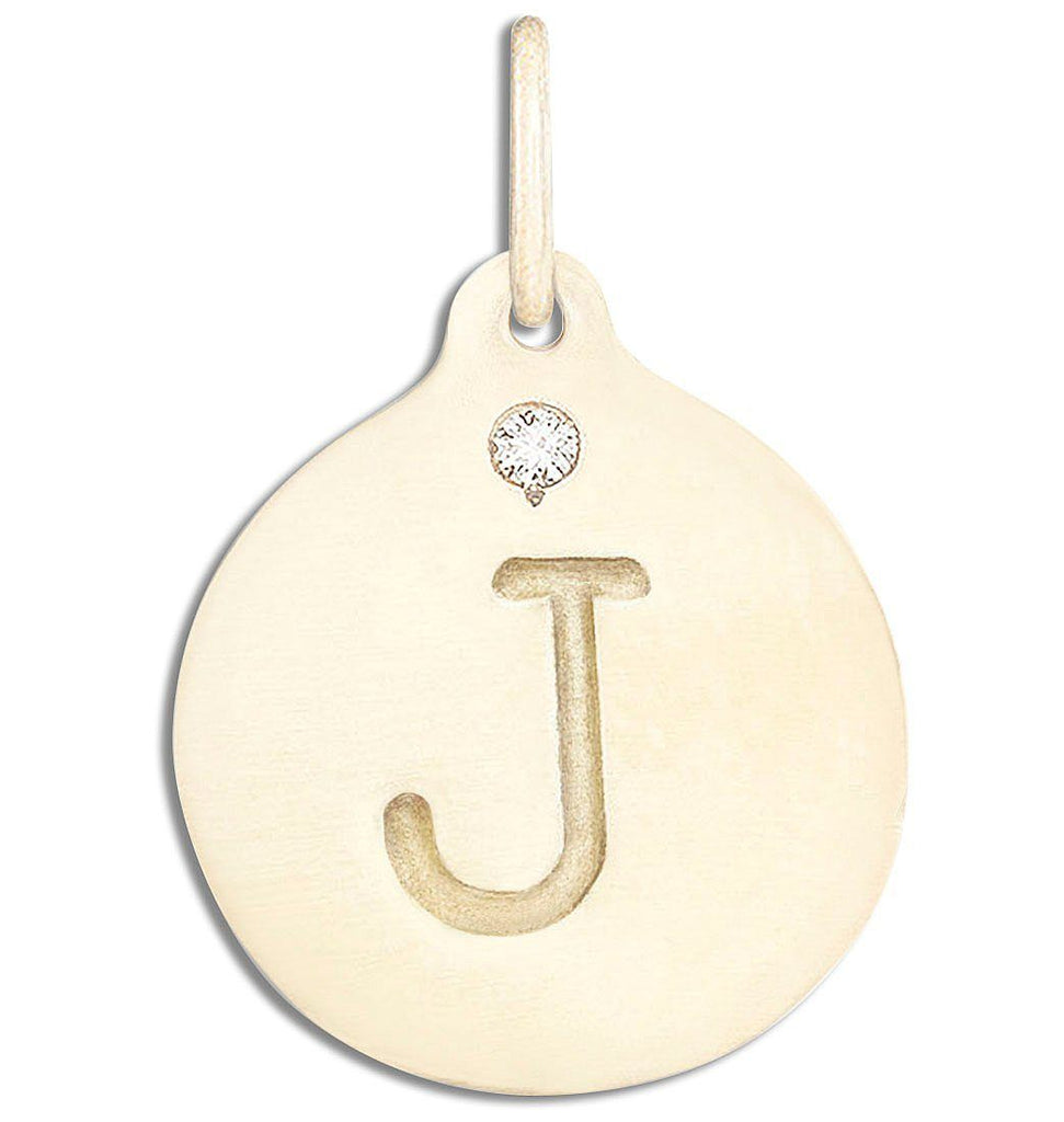 """J"" Alphabet Charm With Diamond - 14k Yellow Gold - Jewelry - Helen Ficalora - 1"