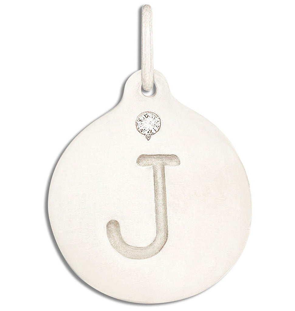 """J"" Alphabet Charm With Diamond - 14k White Gold - Jewelry - Helen Ficalora - 2"