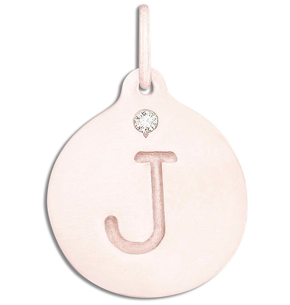 """J"" Alphabet Charm With Diamond - 14k Pink Gold - Jewelry - Helen Ficalora - 3"
