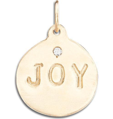 """Joy"" Disk Charm With Diamond Jewelry Helen Ficalora 14k Yellow Gold For Necklaces And Bracelets"