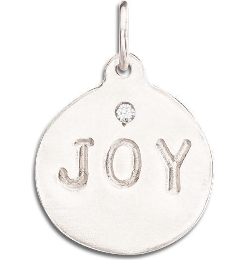 """Joy"" Disk Charm With Diamond - 14k White Gold - Jewelry - Helen Ficalora - 2"