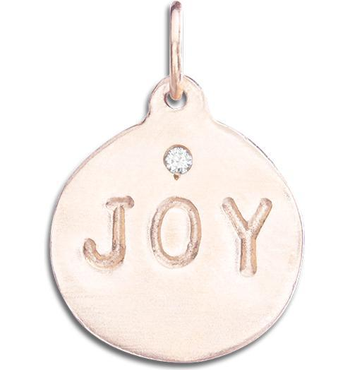 """Joy"" Disk Charm With Diamond - 14k Pink Gold - Jewelry - Helen Ficalora - 3"