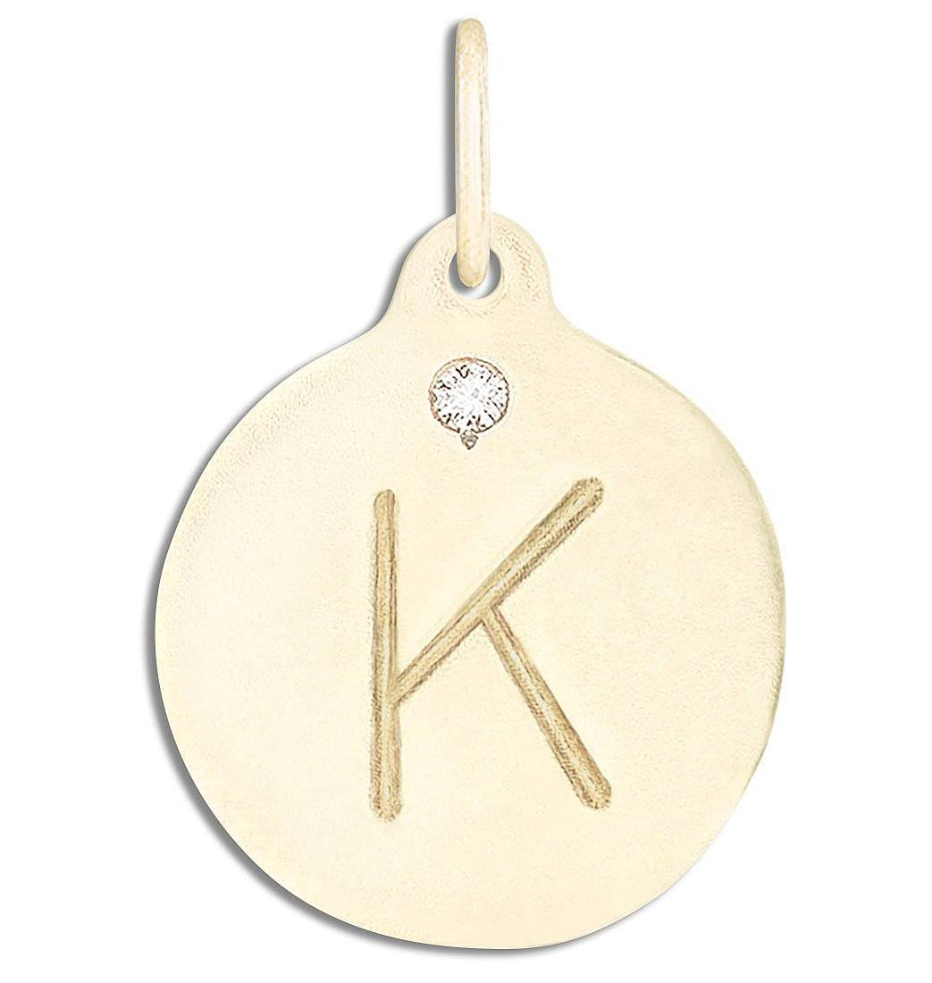 """K"" Alphabet Charm With Diamond Jewelry Helen Ficalora 14k Yellow Gold For Necklaces And Bracelets"